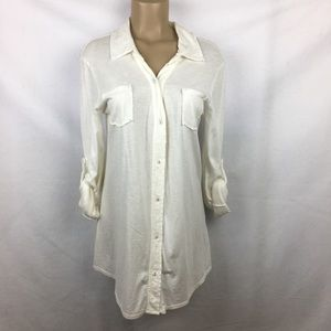 Michael Stars White Long Sleeve Button Up Top OS